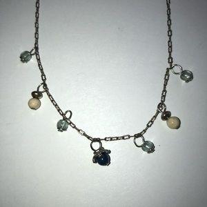 Delicate Multi Stone DropNecklace Silvertone